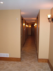 Looking down hallway towards exercise room