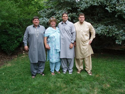 "Steve, Alice, Bobby and Casey in their Pakistan ""dresses"""