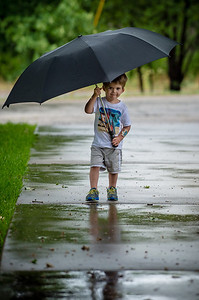 Cayden and his umbrella