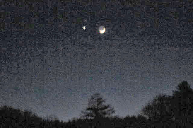 The moon and Venus in the Southern sky on Wednesday, 18 February, 8:00 pm, going to be 10 below zero.
