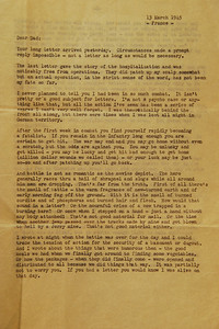 This letter is 3 pages long. Opa has already delivered the facts of his injury in the prior letter. Now he reflects on combat itself. This will take your breath away.