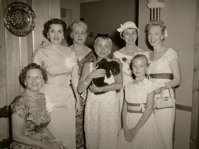 Lillian Thompson, Debbie Thompson, Helen Wilson, Nancy Wilson, Marilynn Hoffman, Sandy Wilson, Dorothea Michaels and the little poodle is Folly