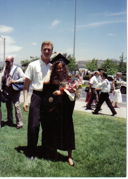 Granddaughter Christine and her then fiancee Tom at Christine\'s graduation from San Diego State University (SDSU).  Mom was so very proud of Christine.