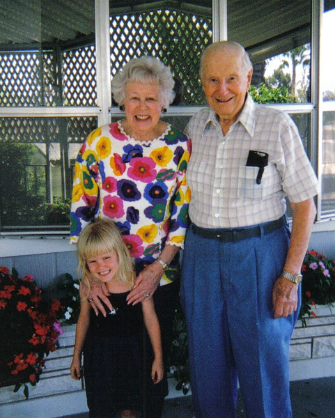 Mom and Dad outside their home in Camarillo, CA with their great grand daughter, Sky Hannah.
