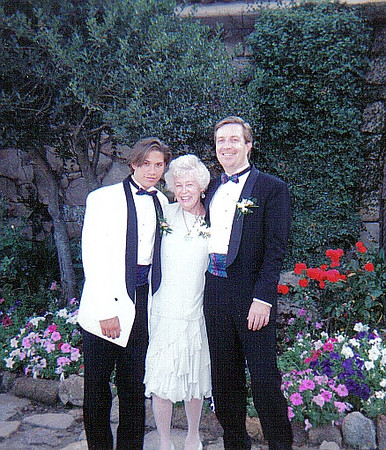 Mom between me and her grandson Richard at granddaughter Christine's wedding in Encinitas, CA .  Only picture of me since I was 18 clean shaven.