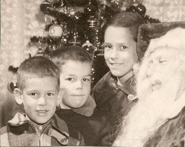 Tom, Bob, Ed with Santa       1952?
