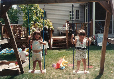 Kelly and Mandy 7/92 (before the pool)