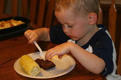 corn & a brownie - Aaron loves this lunch!