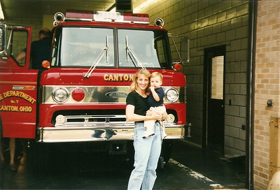 Caroline & Caleb at Bob's fire station    7/98