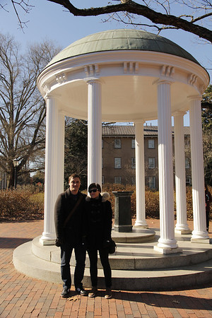 John & Molly at the Old Well on the UNC campus - considered the heart of campus.   In 1897, the well was given its present decorative form.   In 1954, the well was enhanced with brick walks, plantings, and benches. Edward III proposed to Sonya here.