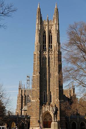 Duke University Chapel is the center of religion at Duke. Completed in 1932, the Chapel seats about 1,800 people. It is built in the Collegiate Gothic style, characterized by its large stones, pointed arches, and ribbed vaults. It also has a 50-bell carillon and three pipe organs.