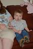 Chandler eating his blue frosting & cupcake at Erik's birthday!