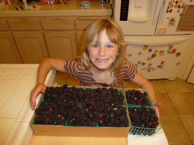 Bernadette's Boysenberries and the first missing tooth.  6/5/11