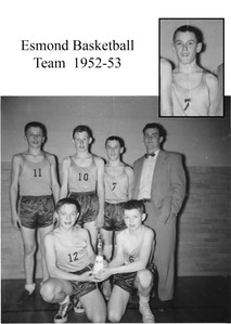 Here is a copy of the Esmond Grade School Basketball Team from 1952-53 season. I think this was taken after winning the Conference Championship. Look at that massive trophy!! (per Rod McQueen)  front row: Rod McQueen, Roger Gustafson  back row: Chuck Rand, Richard Berg, Lee Clegg, and Coach, Ken Underwood