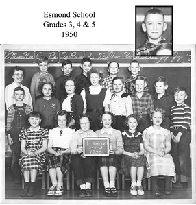Here is a picture of your Dad and classmates when he was in 5th grade at the Esmond School. All the country schools had been consolidated by then - the Esmond school had bee divided into rooms with 1, 2, and 3 in one room and 4, 5, and 6 in the other. The 7 and 8 grades were all going to Renwick School. (per Rod McQueen)  1st row: Connie Horton, Joyce Berg, Genene Larson, Marcia McKenzie, Karen Busse, and Coralie Busse.  2nd row: Larry Heal, Marlene Gunn, Marna Rasmussen, Norma Rand, Chuck Rand, Richard Berg, David Montgomery, and Lynn Gustafson.  3rd row: Mrs. Partch (teacher), Roger Gustafson, Mike Harmon, John Scofield, Rod McQueen, Lee Clegg.