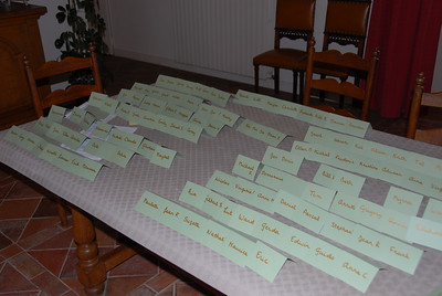 Charlotte determines the seating arrangements with namecards she groups into tables of 8.