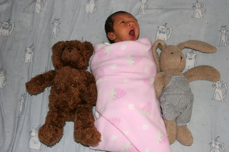Lydia surrounded by her stuffed animals.