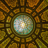 As if one ornate dome wasn't enough, there another one. A yellow-toned stained-glass dome in Renaissance pattern by the firm of Healy and Millet. The rotunda features 30-foot walls of Knoxville pink marble and mosaic floor..Now lighted electrically, it was originally illuminated by sunlight.