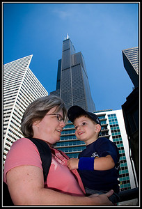 Anthony in downtown Chicago with the Sears Tower in the background (still sporting his Cubs wristbands).