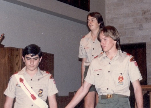 Another of those that I can't remember the occasion.  This was from my time in Boy Scouts, Troop 33 in Miami.  That's Herman Appleman on the right, and Ron Johnson standing behind us.