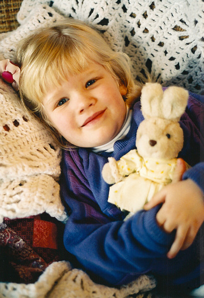 With her stuffed bunny - 3 1/2 yrs. old? (eventually she owned a number of real bunnies)