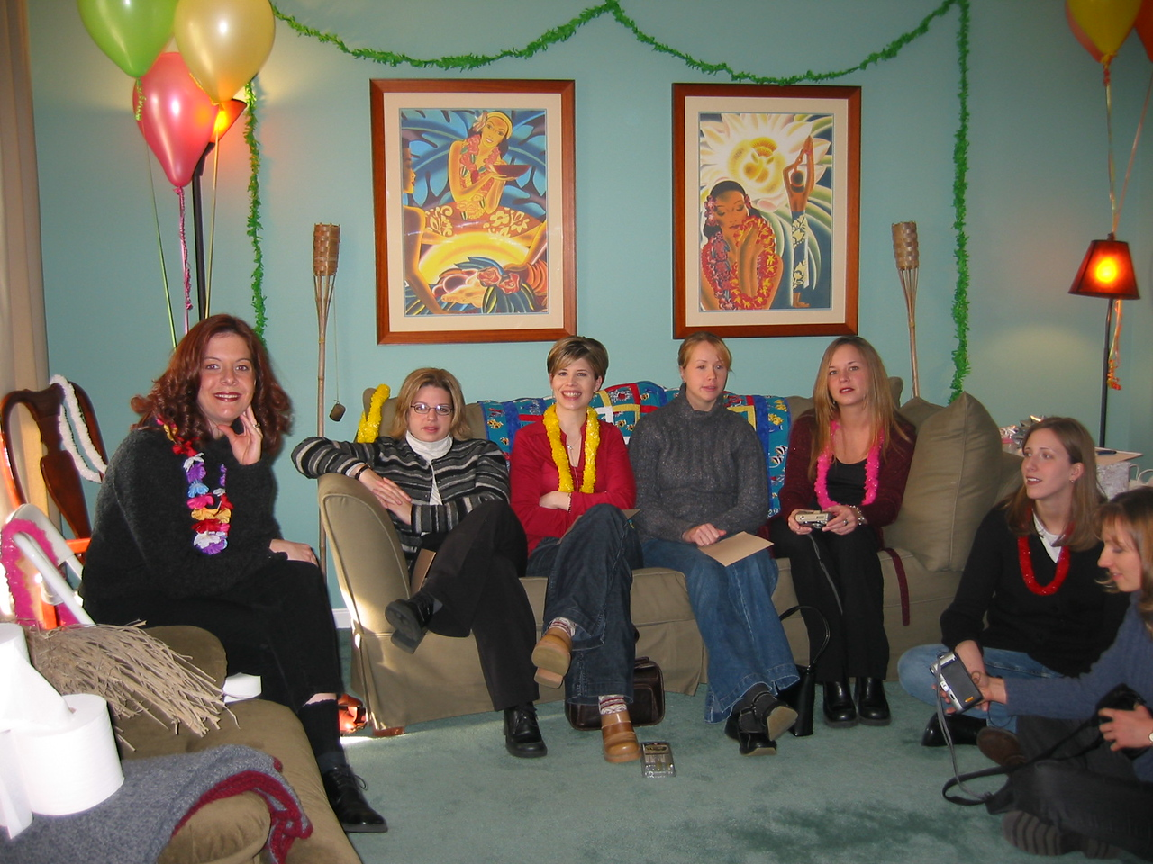 Guests at the shower, Cara, Erin, Rebecca, Kendra, Erica, Amy, and ?