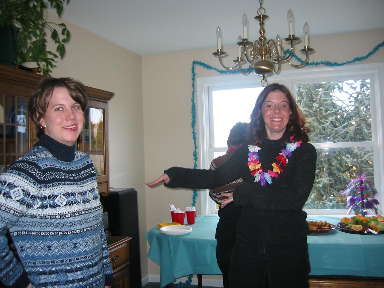 Amy and Cara doing the hula
