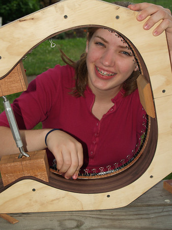 Lydia building guitar, 17 yrs.