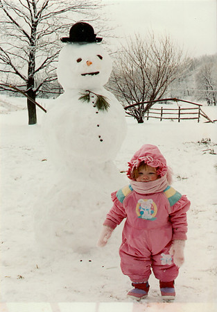 Lydia with Snowman in Steinsburg, 1 1/2 yrs. old
