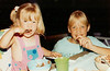 Lydia & Chara with cake - Age 3 ?