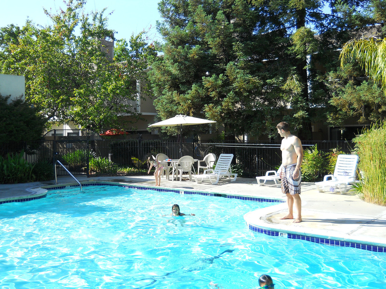 Mike, Kaidyn (in water) and Anna.  Mike took the girls to the pool, while Ilsa and I went with Leonie to pick up her dress