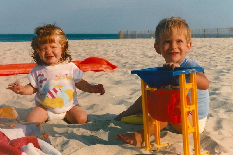 Lydia with Nate Day at the Jersey Shore, summer 1992 (ages 1 yr. & 2 yrs.?)