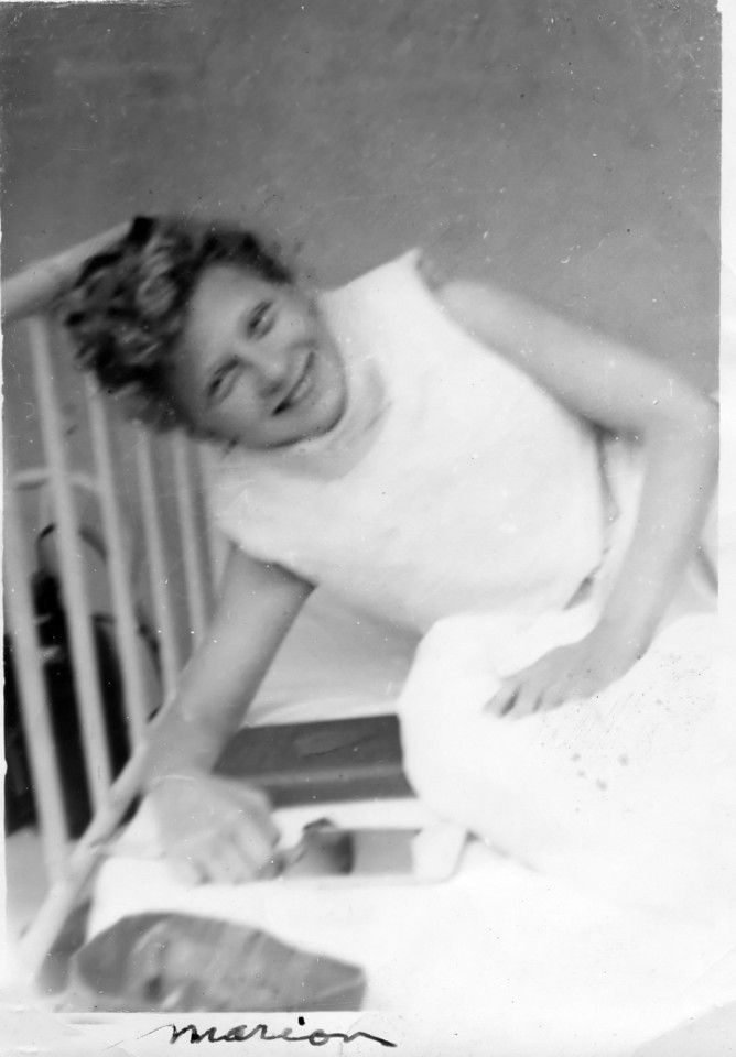 My Mom, Marion Kobularcik, in turnbuckle cast at Children's Orthopedic Hospital 1942.