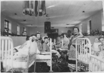 Halloween Party at Children's Orthopedic State Hospital 10-30-1942.  All services here were free to the patients paid for by the State of Pennsylvania.  My Mom, Marion Kossik (nee Kobularcik) is the one on the far right.