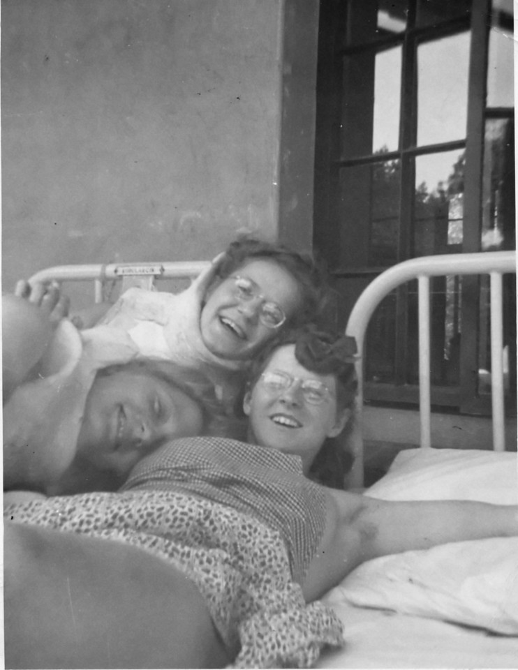 My Mom, Marion Kobularcik, the one without glasses, with two of her friends at the Children's Orthopedic Hospital 1942.