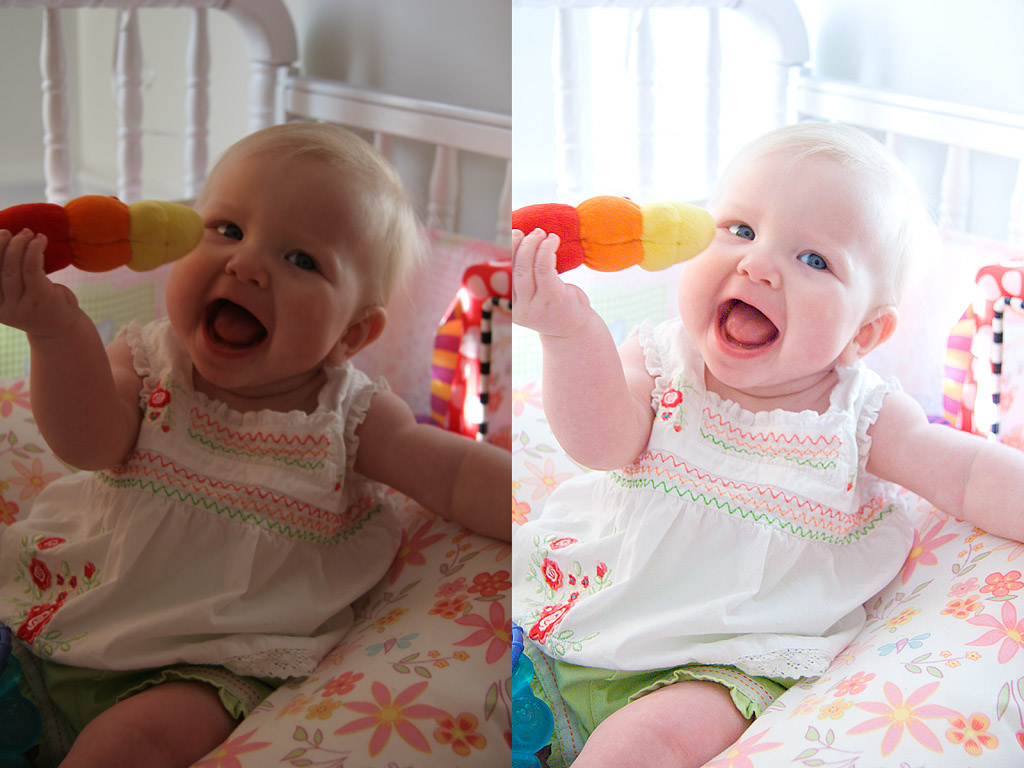 """These show the amount of lighting and color correction that was required for this series. The """"before"""" photo is what came out of the camera.  No local corrections were made to the final photo (no dodging or burning), only photo-wide color skewing.  99% adjusted in Adobe's new """"Photoshop LightRoom"""" (Beta 4.1).  Final tweaks and sharpening in Photoshop CS2. I usually use Pixmantec's """"Raw Shooter Professional"""", but LightRoom handled these fair skin tones much better.  (Raw Shooter was recently bought out by Adobe, to use the technology in LightRoom.)    Photo name: 061010_1555o_BeforeAndAfter_Chloe"""