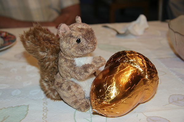Chocolate acorn with chocolate squirrels, Easter 2007