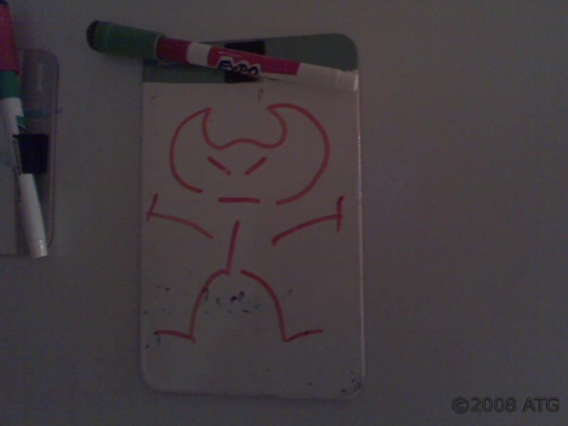 Who drew this little person on my fridge? I want to give credit where credit is due! I left this drawing up there!