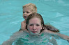 Trudy & Gray swimming in the hotel pool