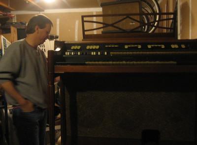 Matt's organ in Chris's garage