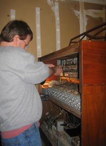 Chris repairing another Hammond organ.  His friend Matt bought this one for $50.