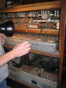 Inside an old Hammond organ.