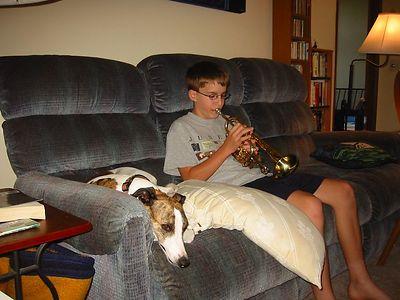 practing cornet