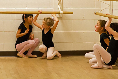 Christina getting ready for her ballet class to start