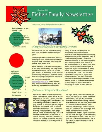 Christmas 2003 Fisher Family Newsletter