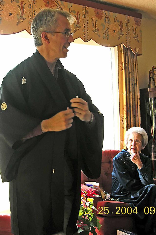 Trying on Japanese jacket