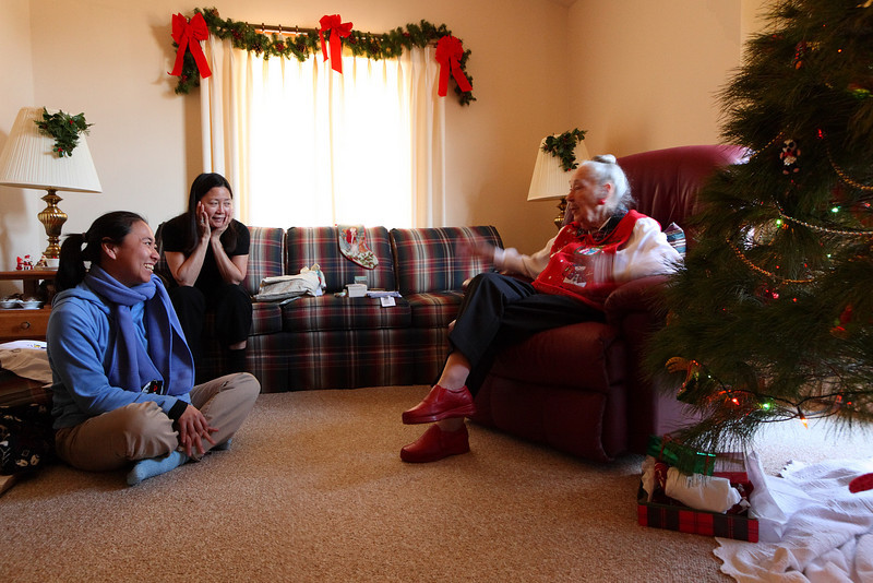 Christine and her mother Catherine with Grandma Jean by the tree.