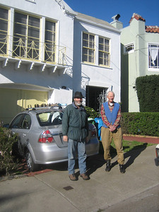 Christmas morning with Don, 47 Byxbee Street, San Francisco.  Note ski rack on our rental car.