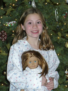 Christiana and her new doll and new PJs
