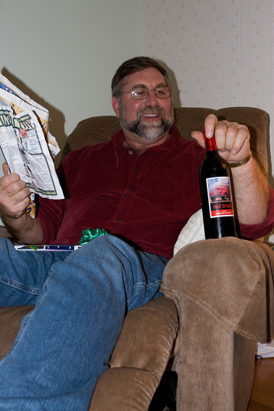 """Gene with his """"Red Truck"""" wine"""